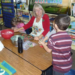 Children in a preschool classroom