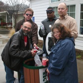 Volunteers from the STAR program maintain recycling bins as Bin Buddies